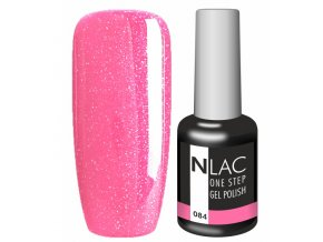 Gel lak NLAC One step 084 - glitrová pink
