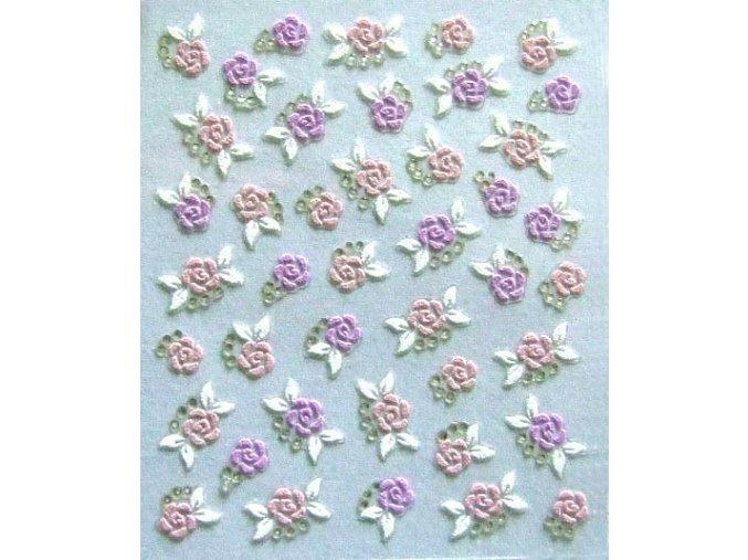 Nálepky - růžové a fialové květy