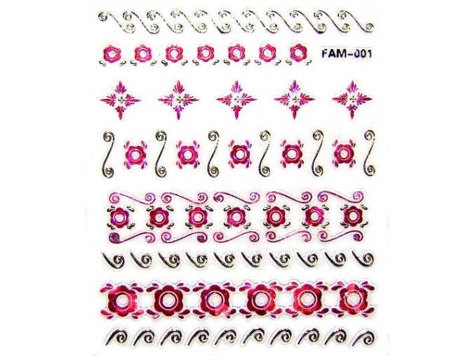 3D růžovo-zlaté nálepky na nehty 001