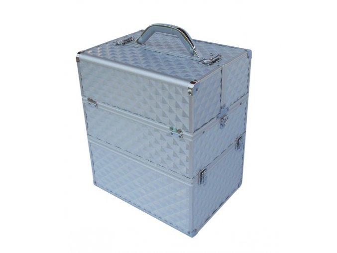LCD 3D kosmetický kufr - stříbrný