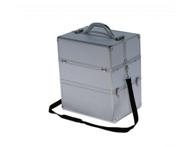 LCD kosmetický kufr, stříbrný - strip