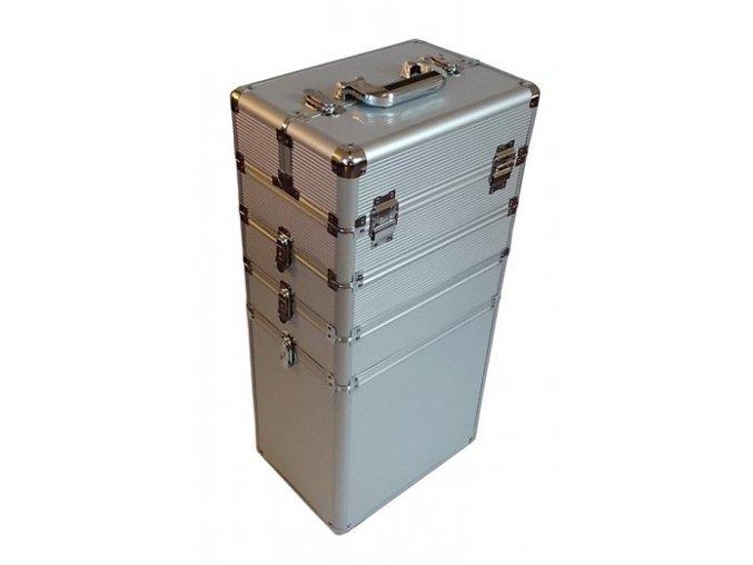 Kosmetický kufr na kolečkách - stříbrný strip