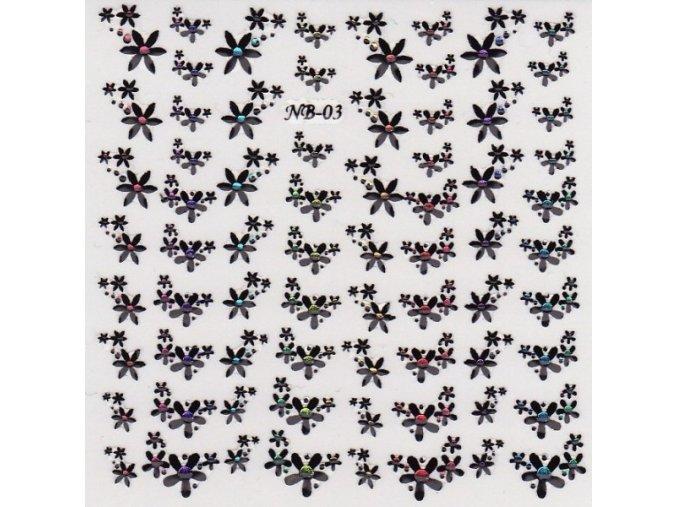 3D nálepky černé květy s barevným kamínkem