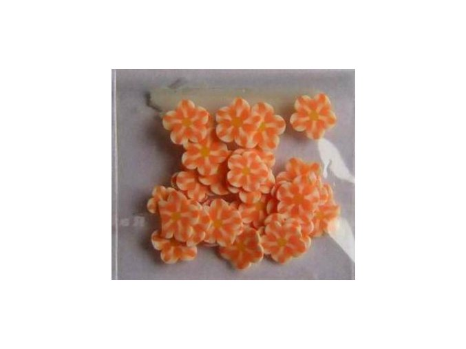 FIMO, oranžová kytička 1kus