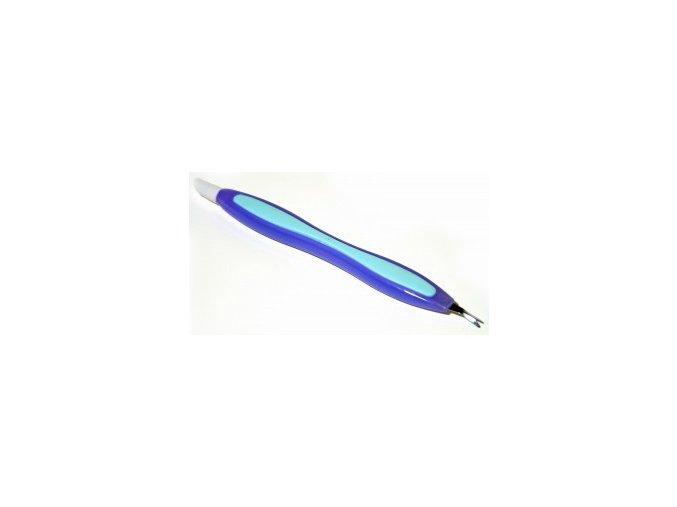 Zatlačovač nehtové kůže s vidličkou - modrý