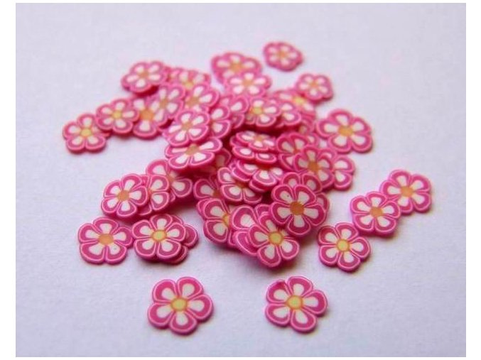FIMO, růžová kytka 1ks