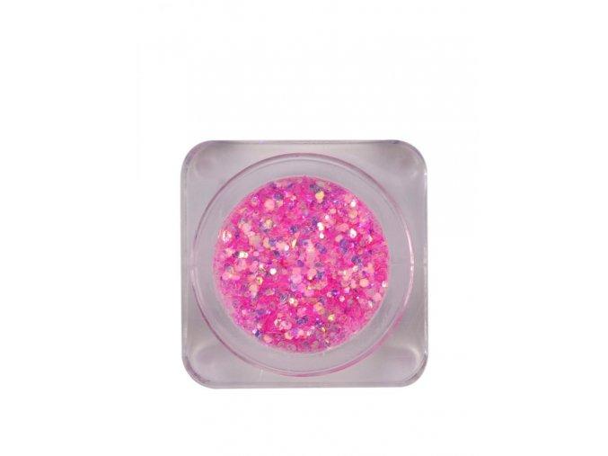 Růžové třpytky na nehty, 3g
