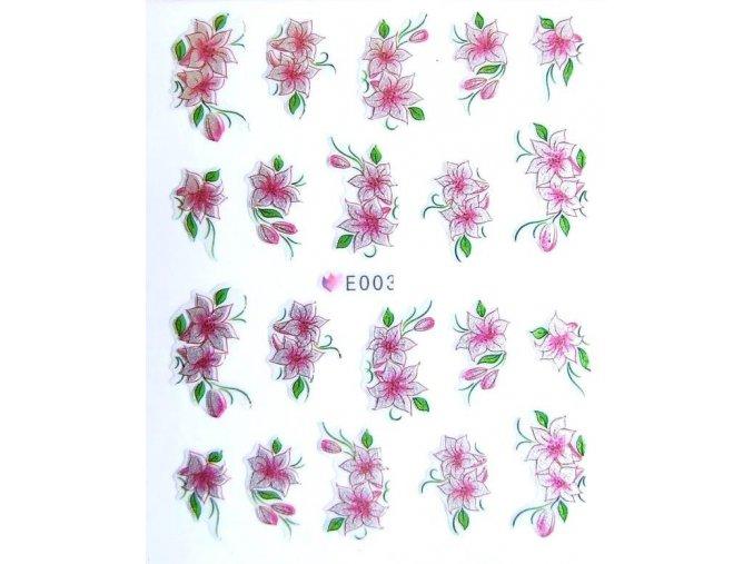 Nálepky na nehty, květy 003