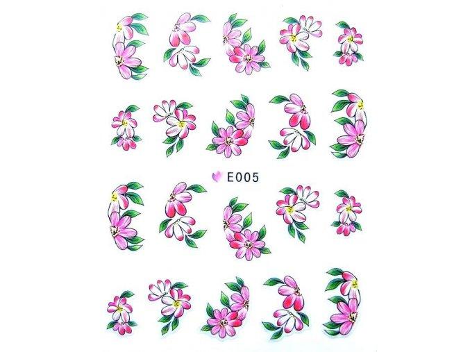 Nálepky na nehty, barevné květy 005