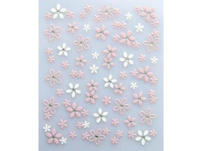 3D bílo-růžové květy