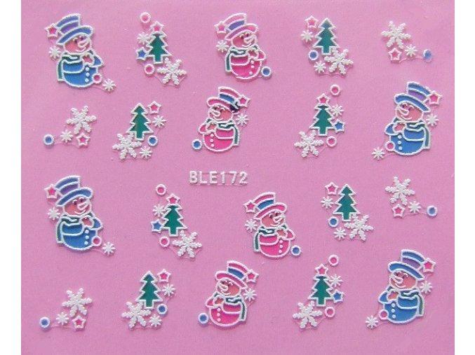 Vánoční nálepky sněhulák a vločky