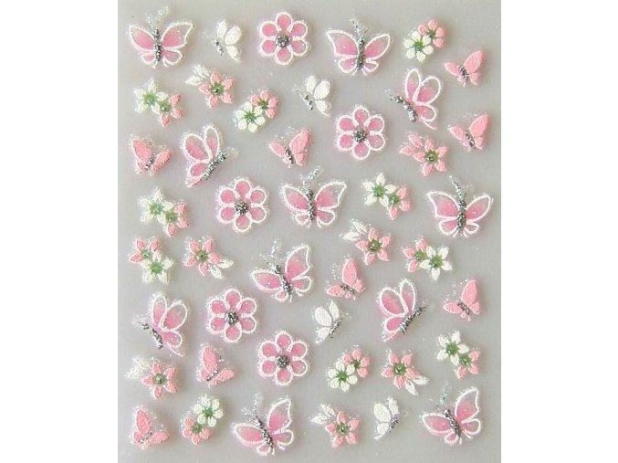 Nálepky na nehty, motýl a květ
