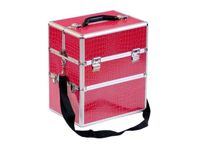 LCD kosmetický kufr, růžový krokodýl