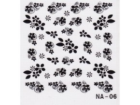 3D černé květy s kamínkem