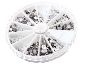 Štrasové kamínky stříbrné mix