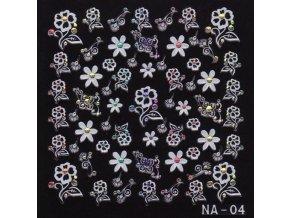 3D Bílé květy s barevným kamínkem