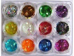 Flitry na nehty, hologramy 12 barev