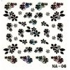 3D černé květy s barevným kamínkem
