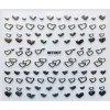 3D stříbrné nálepky - srdce