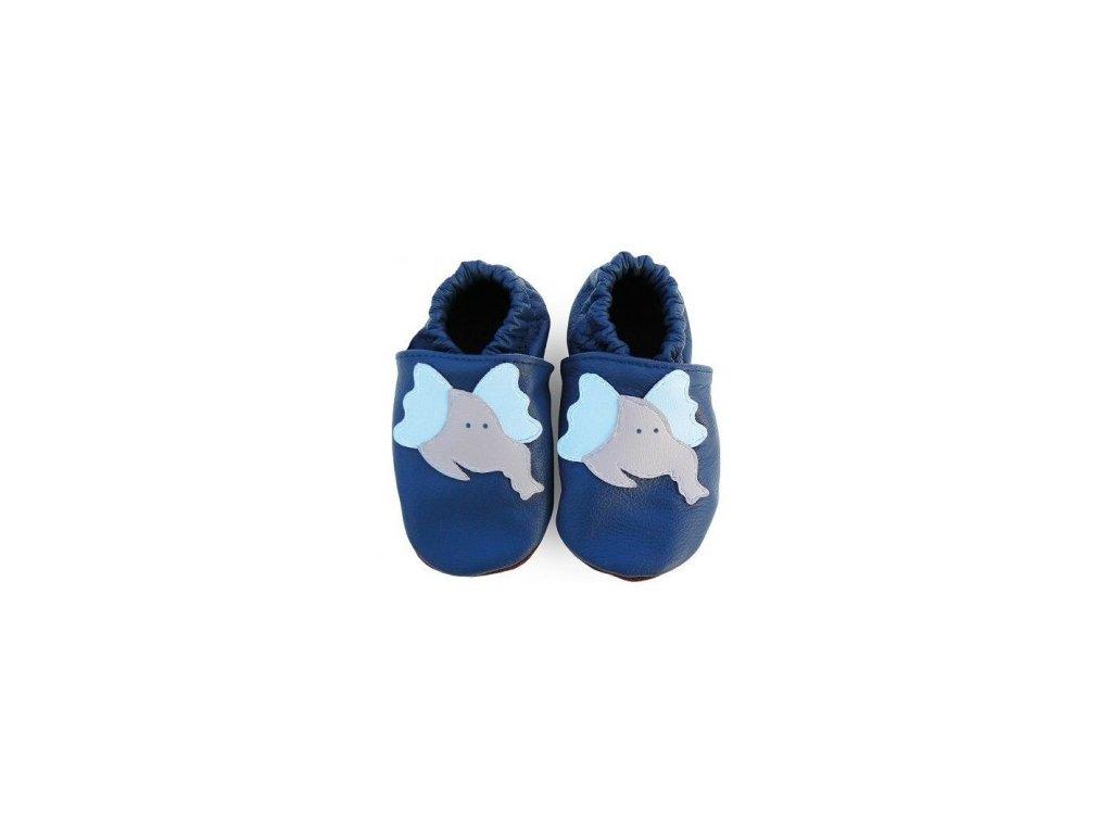 Kožené capáčky - SLONÍK modrý