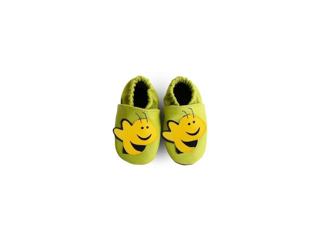 Kožené capáčky - VČELKA zelená