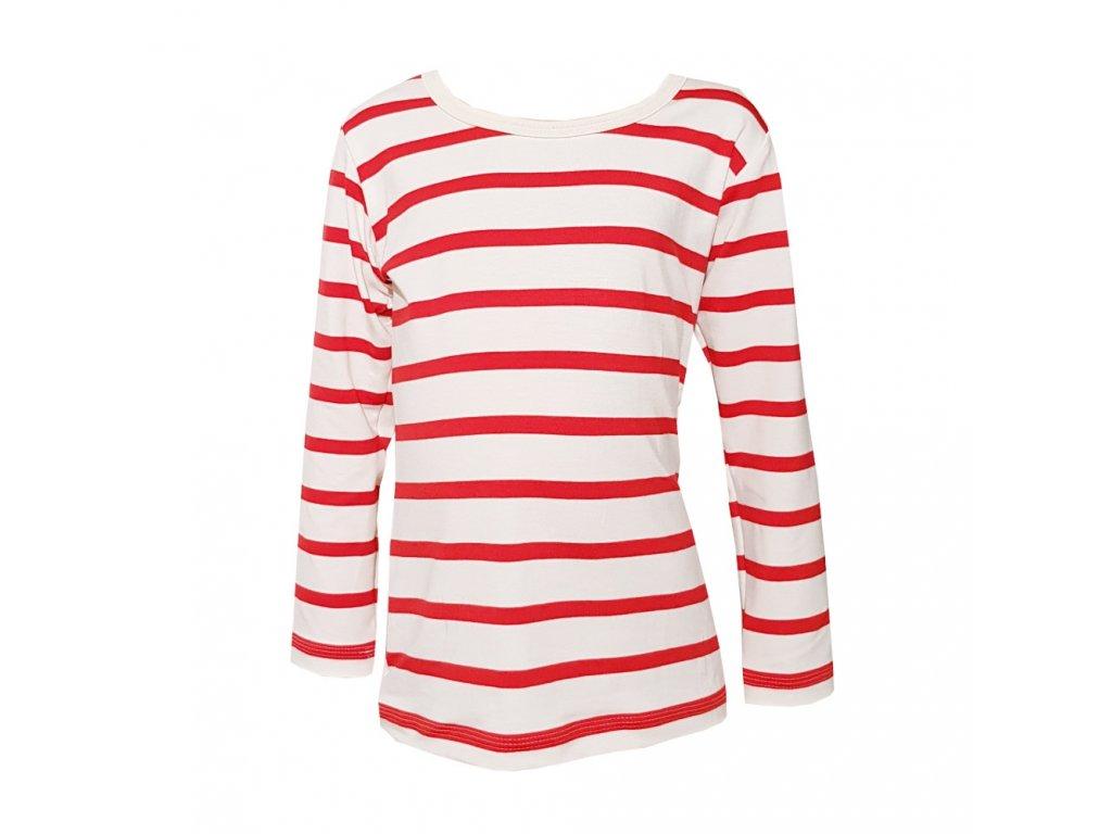 Dámské tričko dlouhý rukáv BAMBUS červený námořník