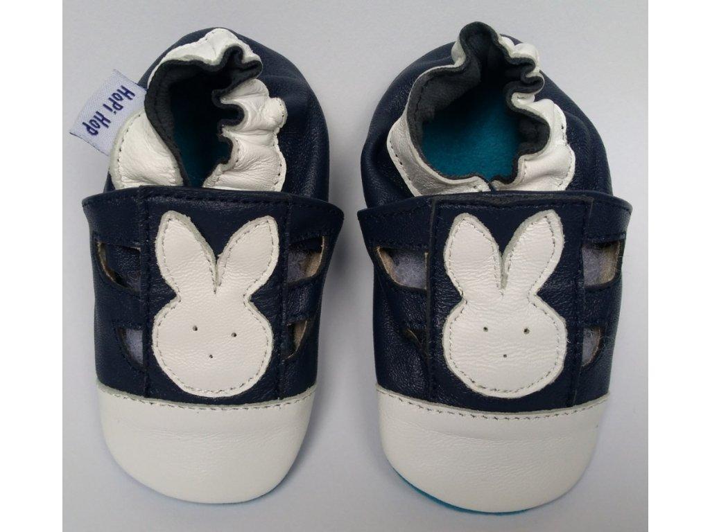 kožené sandálky zajíček na modré