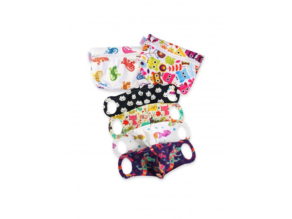 Petit Lulu Praktická dětská sada pro školáky 4 roušky + 2 taštičky