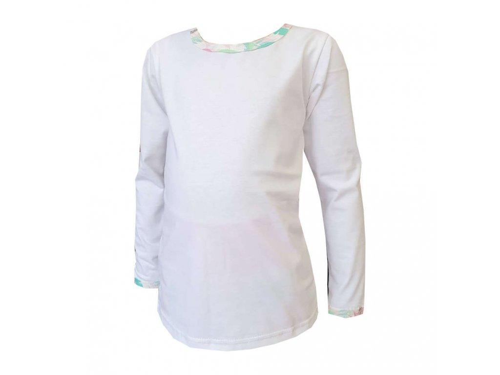 Dívčí tričko DIGI FLAMINGO bílé dlouhý rukáv