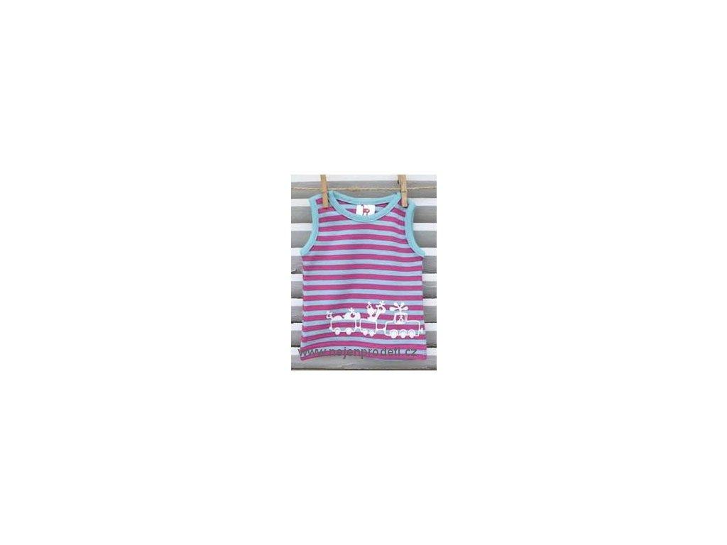 Tričko bez rukávů Kočičí ocásek - fuchsia/turquoise