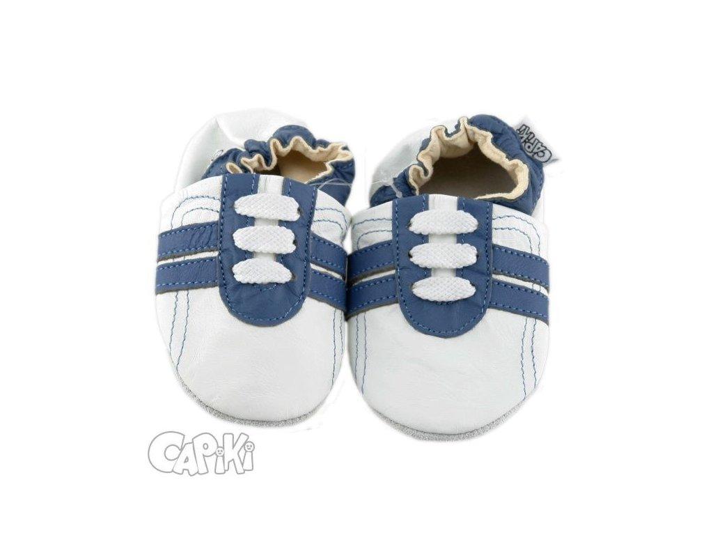 Kožené capáčky - TENISKY modro-bílé
