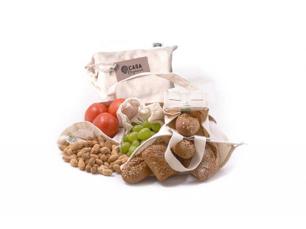 Sada z biobavlny – Farmářský trh (taška a 4 typy sáčku)