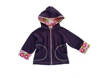 Dětská mikina na zip s kapucí ohrnovací