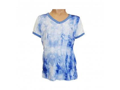 Dívčí tričko V výstřih BAMBUS batika krátký rukáv - různé barvy