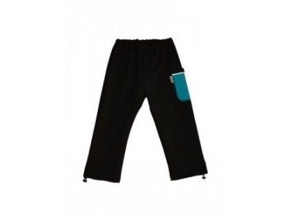 Dětské softshellové kalhoty černé s modrou kapsou - doprodej