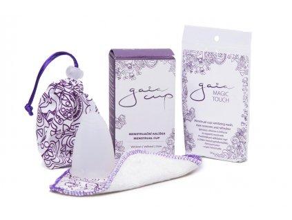 Menstruační kalíšek Gaia Cup + slipová vložka a čistící prášek