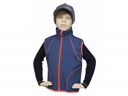 Dětská vesta Fantom SOFTSHELL - melír/signální