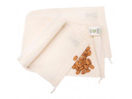Sáček z biobavlny na výrobu ořechového mléka