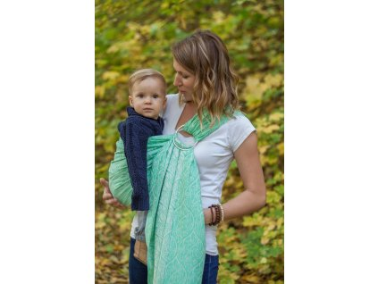 Loktu She RING SLING BIRD GARDEN MINT - TENCEL