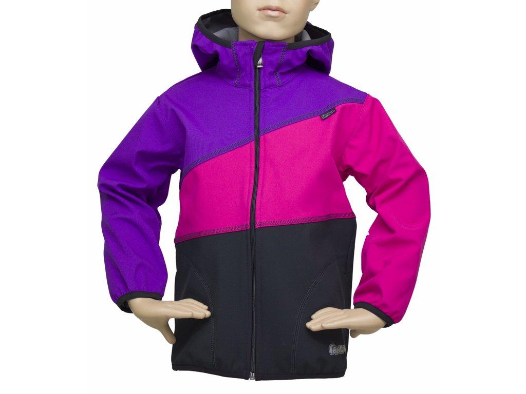 Fantom ČR Dětská bunda Fantom SOFTSHELL trojbarevná (různé varianty) Barva: černo-růžovo-fi