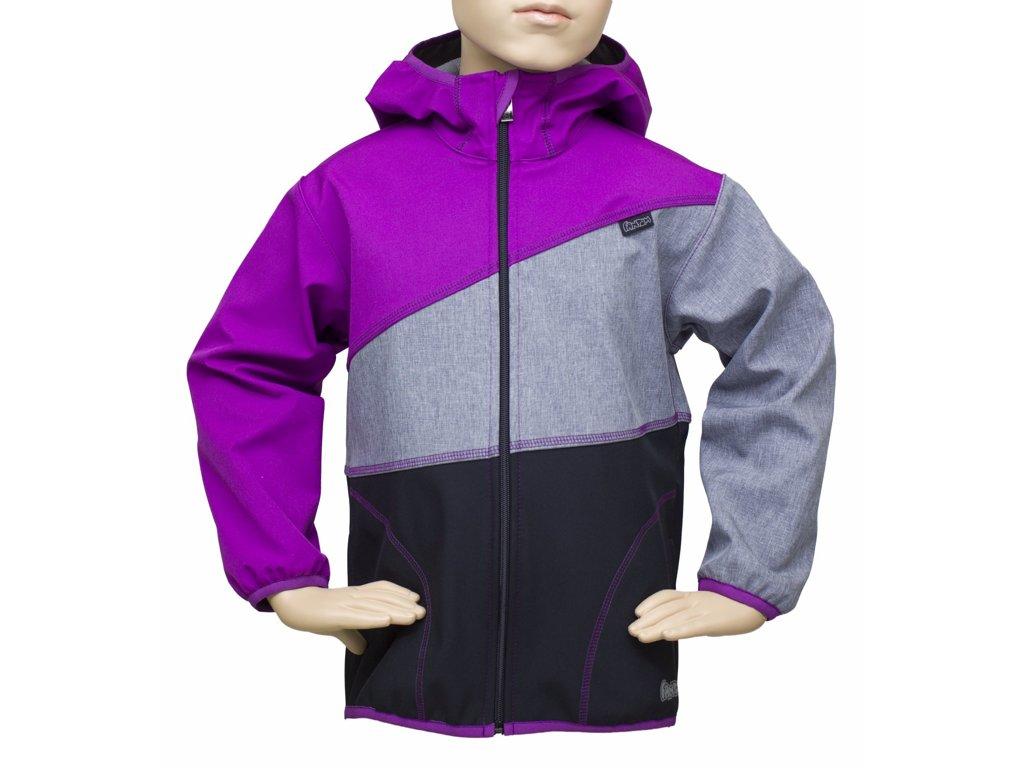 Fantom ČR Dětská bunda Fantom SOFTSHELL trojbarevná (různé varianty) Barva: černo-melír-fial