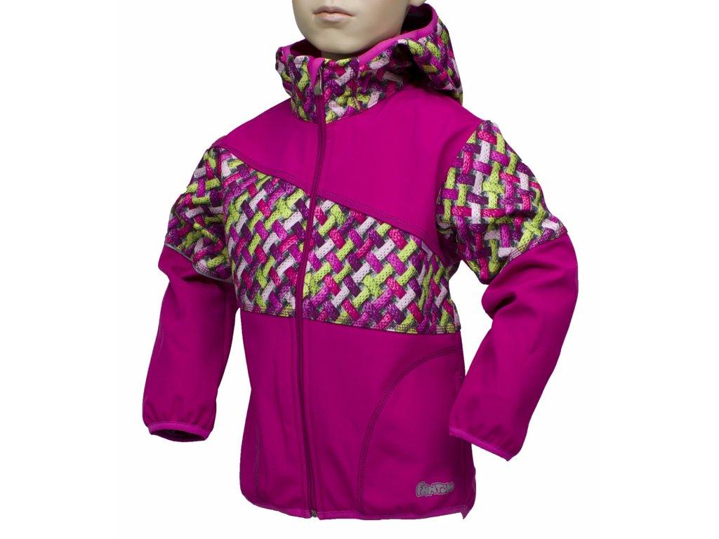 Fantom ČR Dětská bunda Fantom SOFTSHELL kombinovaná Barva: růžová + růžovozelené copánky,