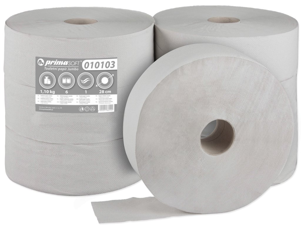 Toalletní Papír Jumbo průměr 28cm/1vr. recykl bal/6rol (201)