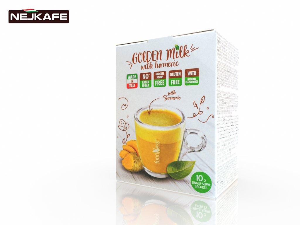 FoodNess Rozpustné Zlaté Mléko s Kurkumou Golden Milk 10 ks
