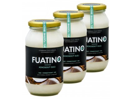 FUATINO Kokosový Olej 3x500ml, RAW fermentovaný, 100% panenský