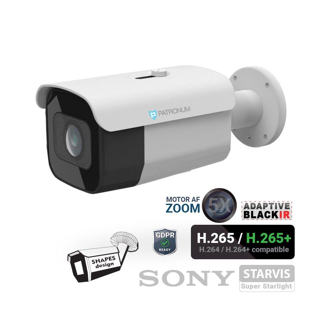 5.0Mpx IP bezpečnostní kamera PATRONUM PR-B60IPWT50MZPOEV1