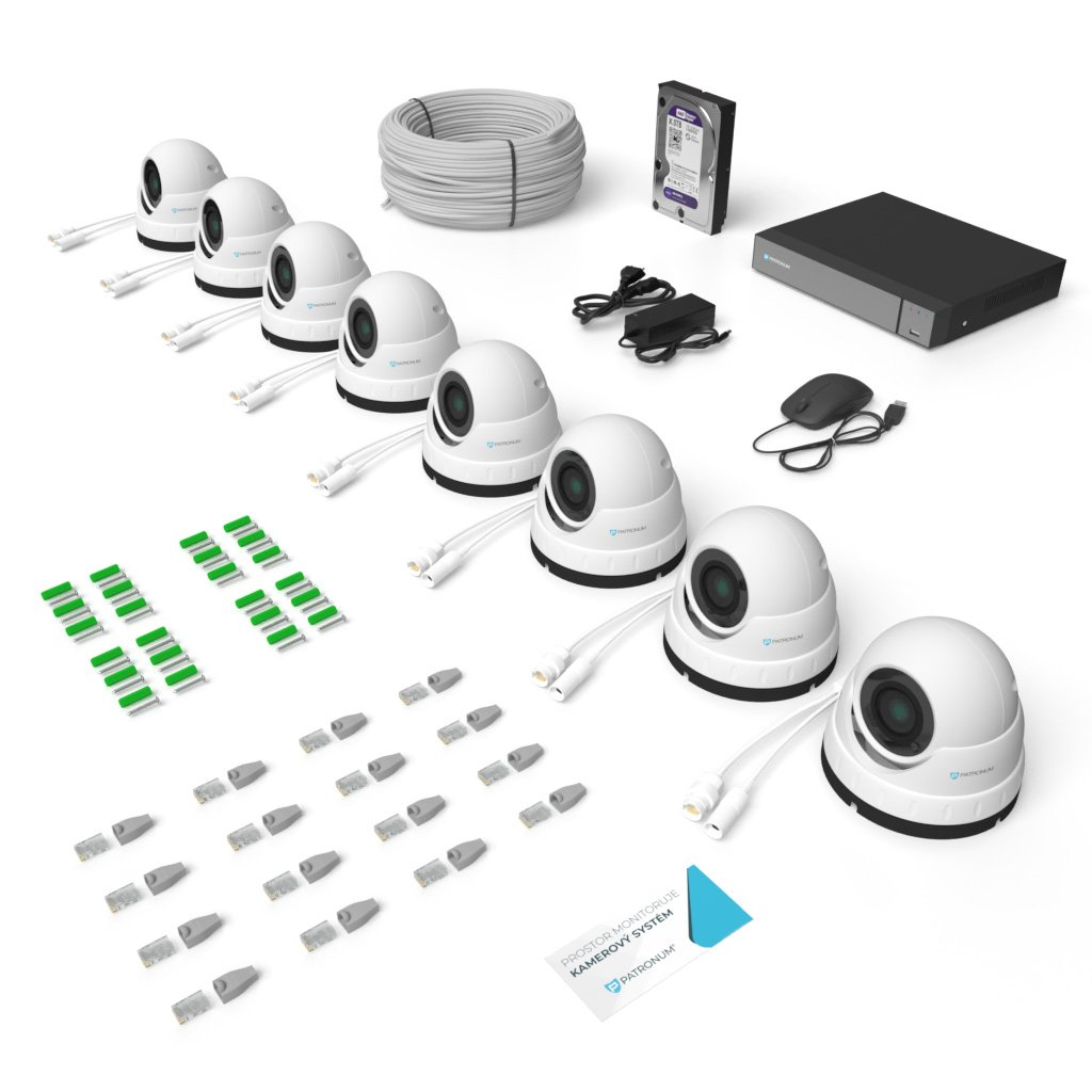 2.0Mpx IP kamerový systém 8xDOME s IR 40m PROFESSIONAL