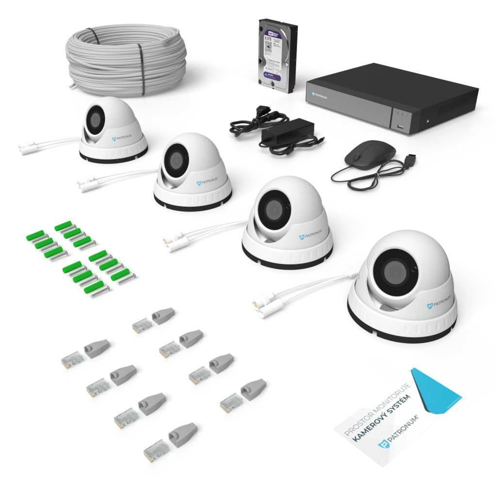 5.0Mpx IP kamerový systém 4xDOME s IR 30m PLUS