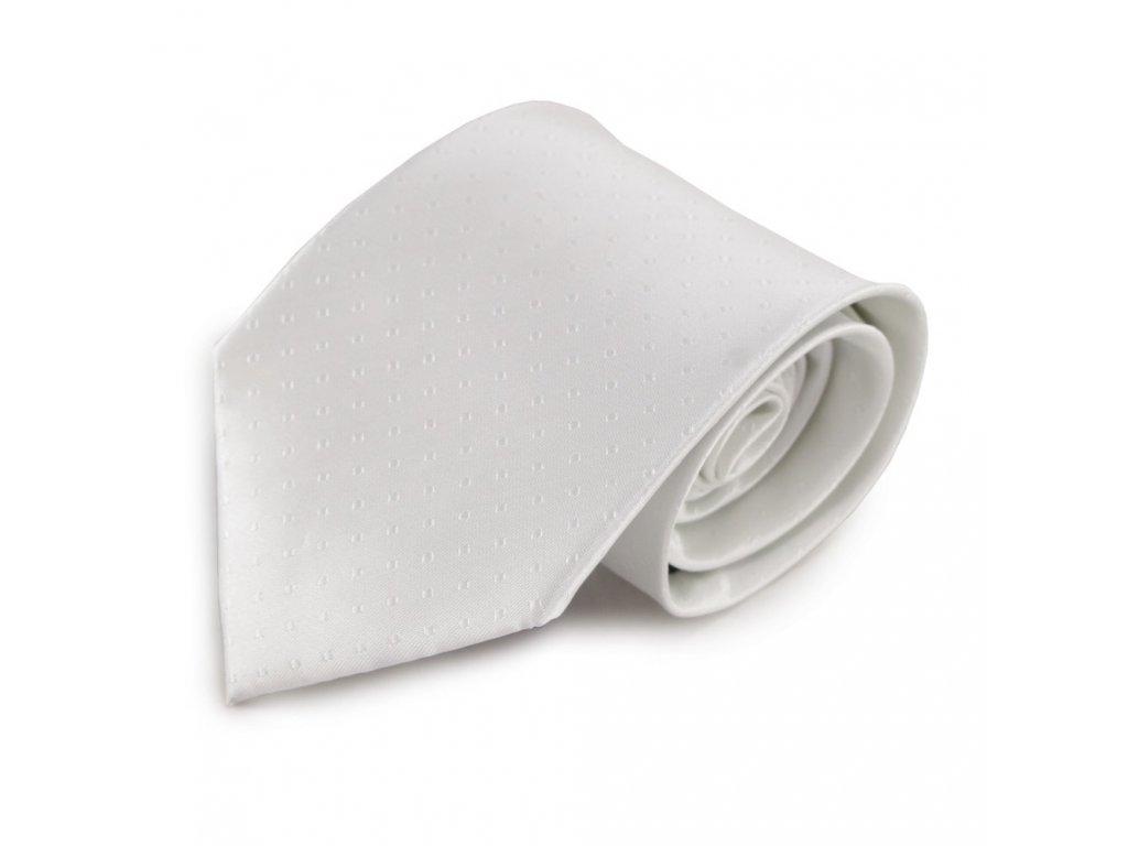 Bílá mikrovláknová kravata s decentním vzorkem