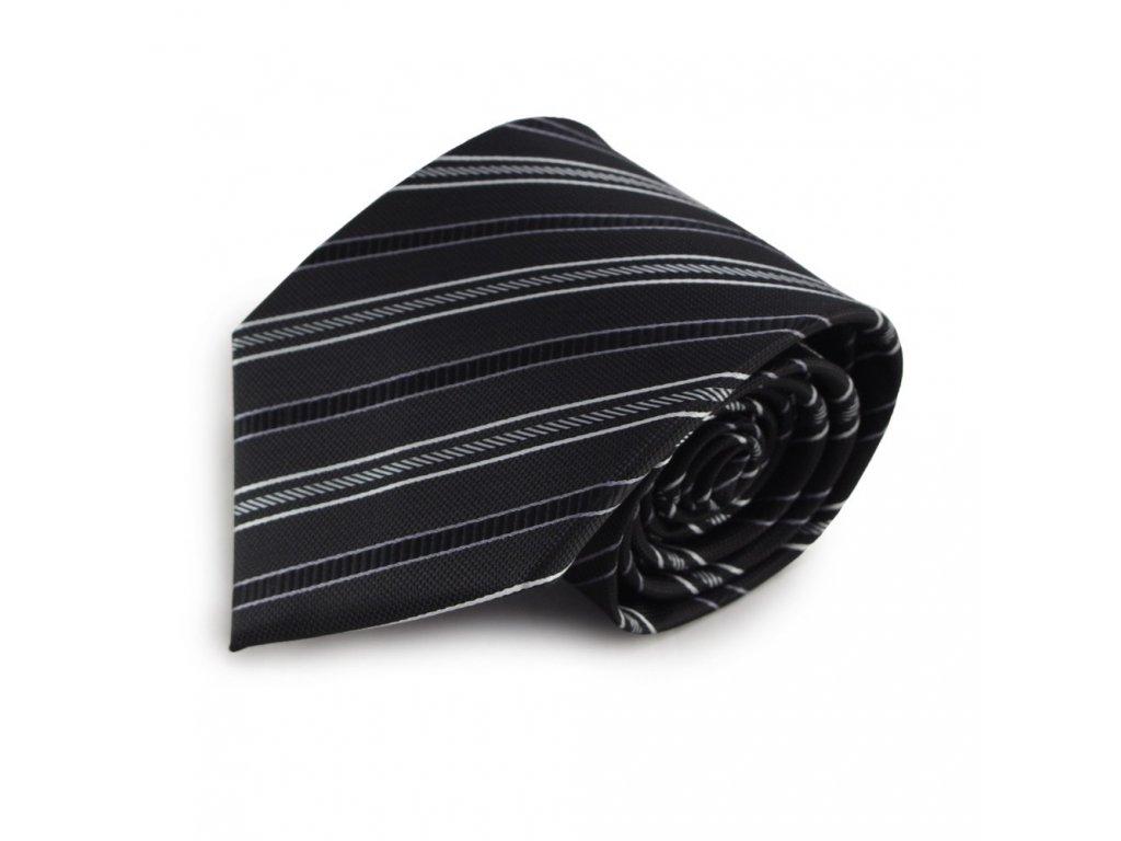 Černá mikrovláknová kravata s proužky (bílá)